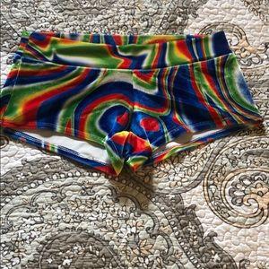 NWOT Rave velvet yoga shorts